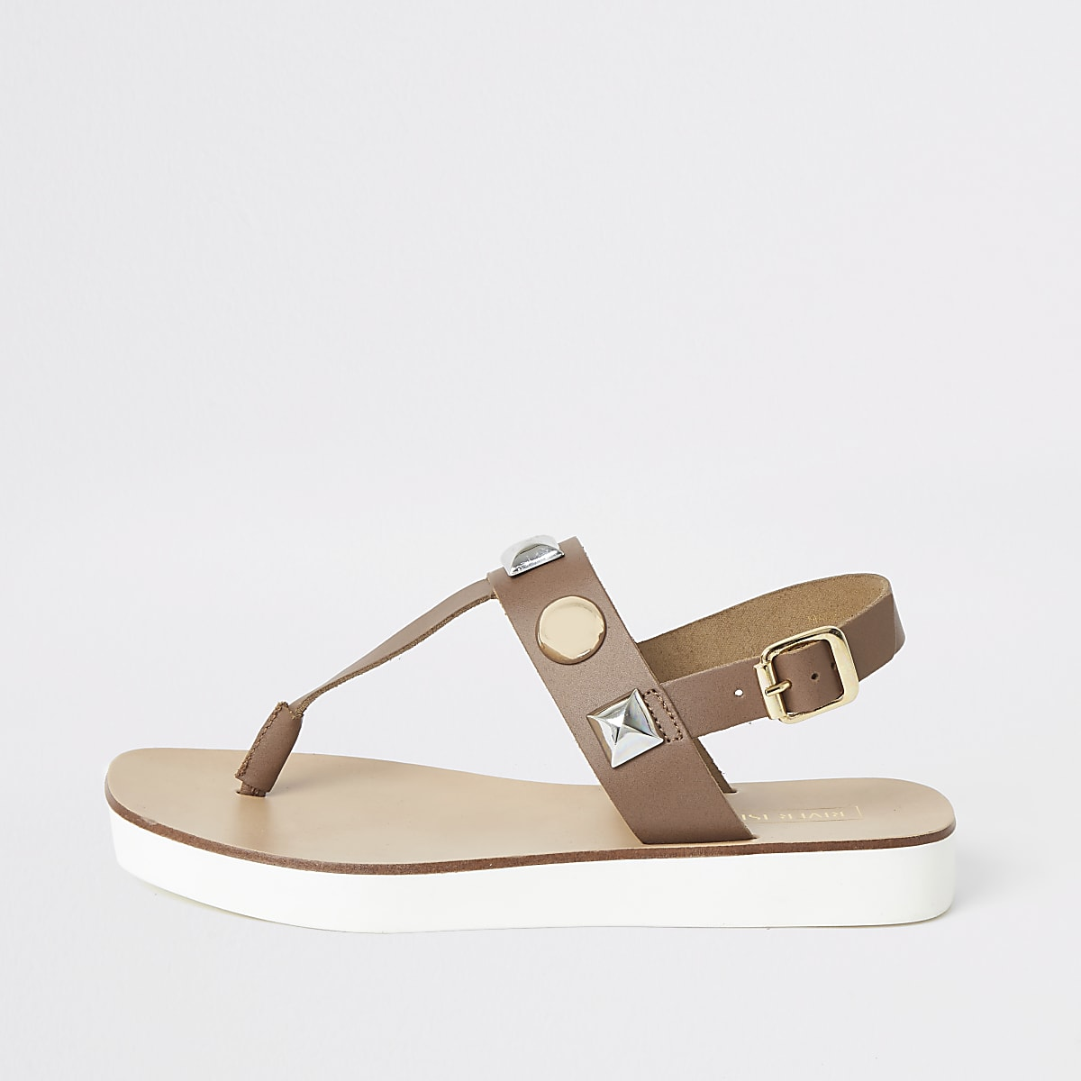 Brown leather studded toe thong sandals