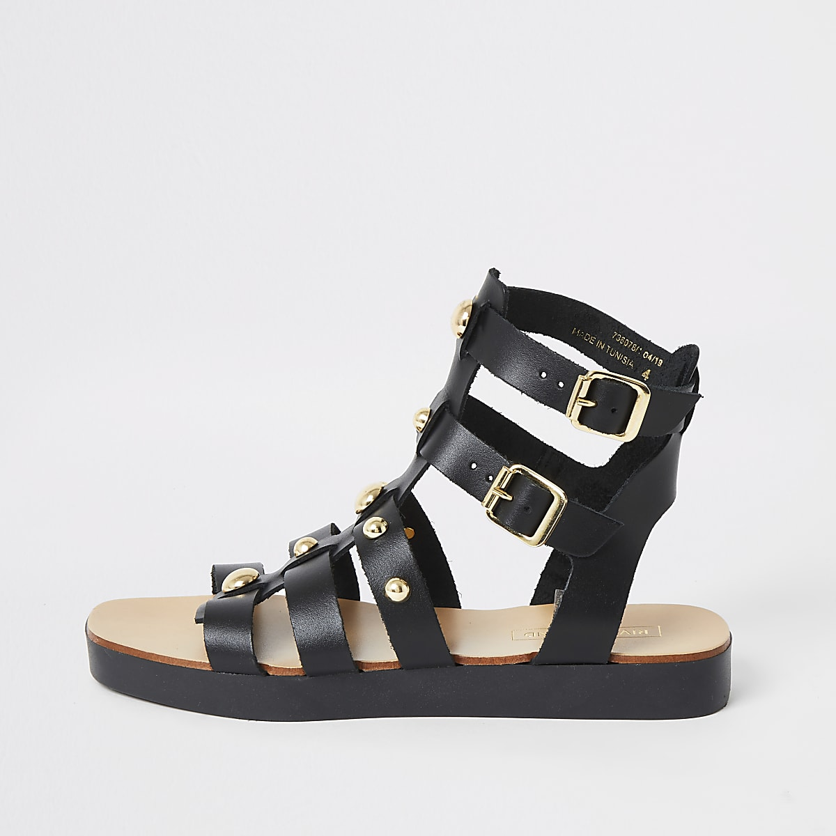 Black leather studded gladiator sandals