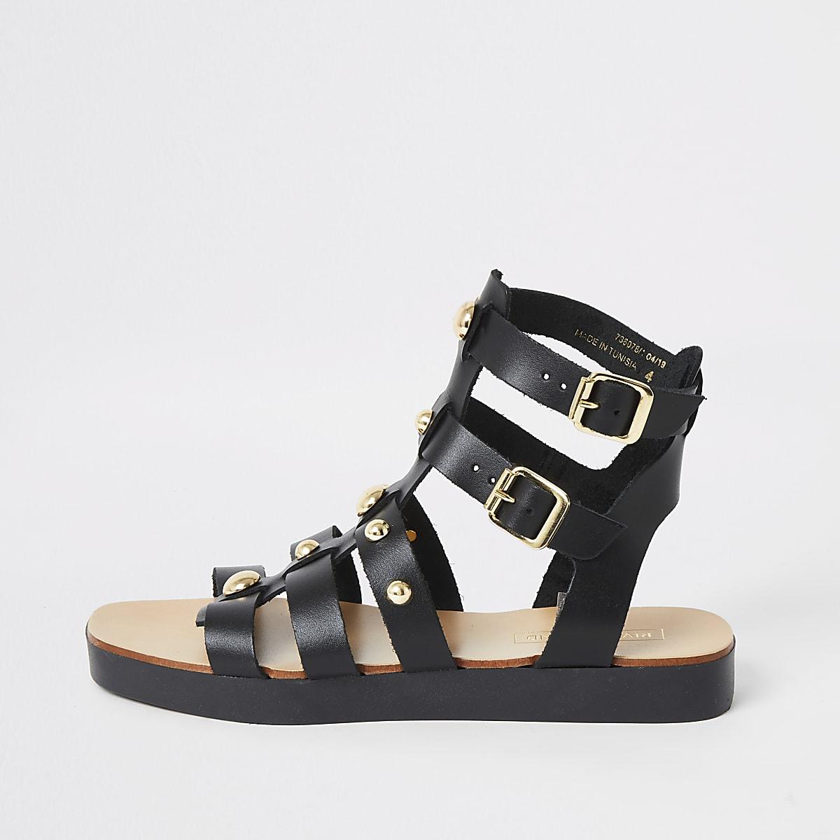 Zwarte leren sandalen met studs