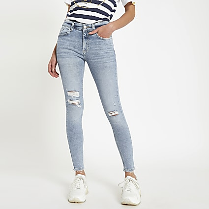 Light blue Amelie super skinny ripped jeans
