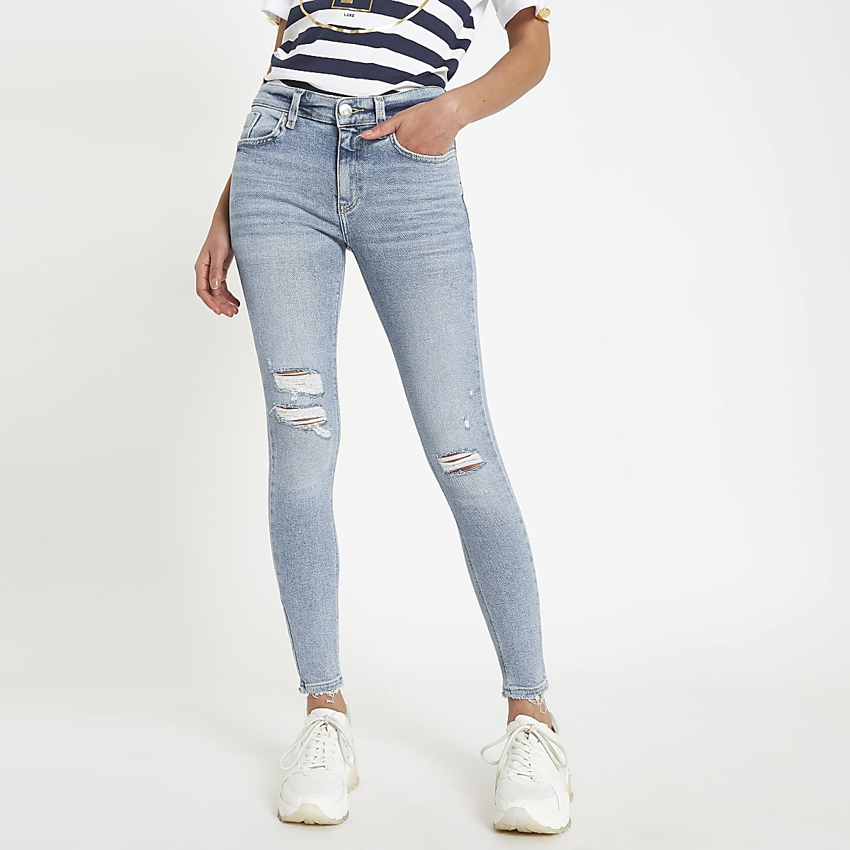 Amelie - Lichtblauwe superskinny ripped jeans