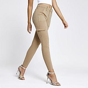 Amelie – Jean super skinny beige style fonctionnel