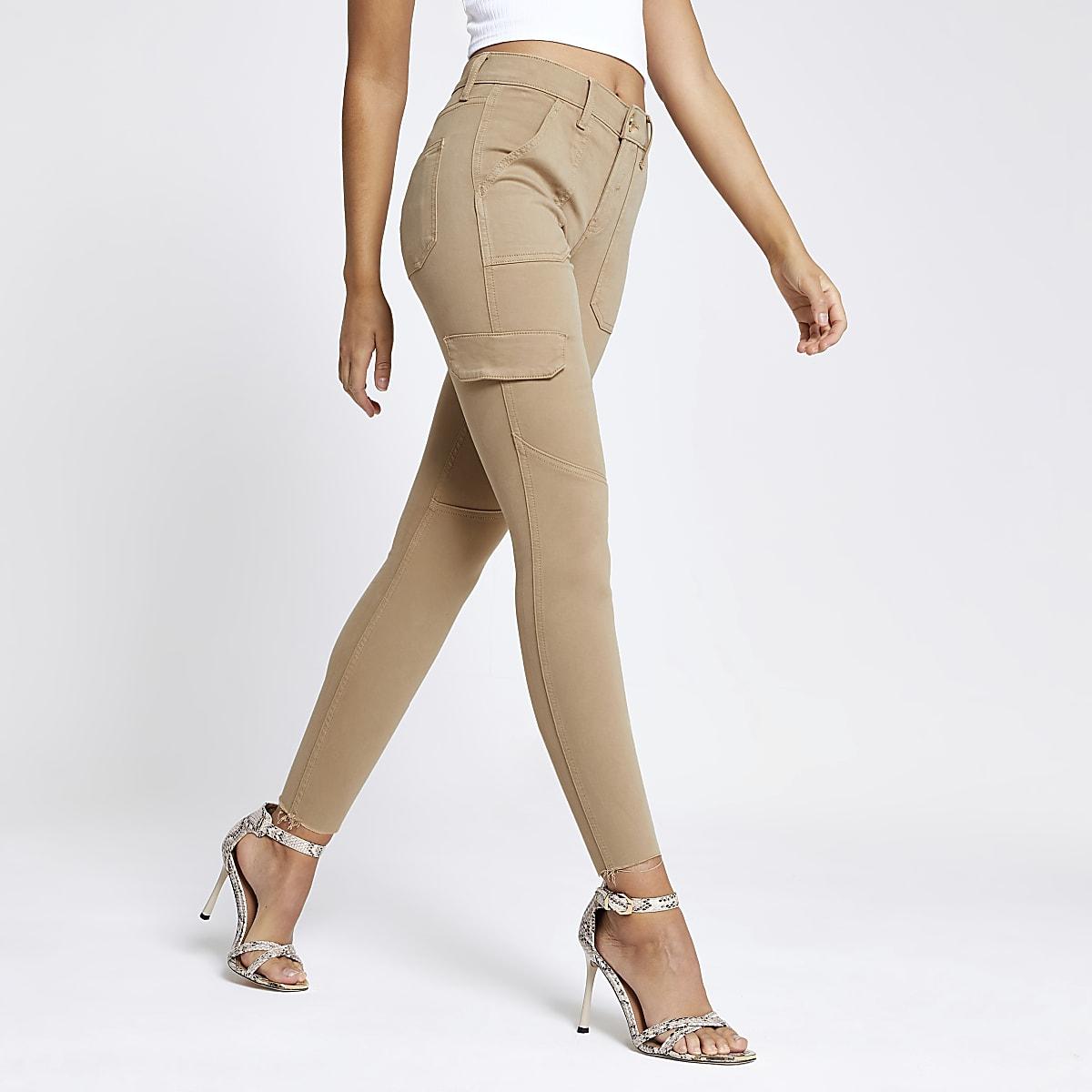 Amelie – Super Skinny Utility-Jeans in Beige