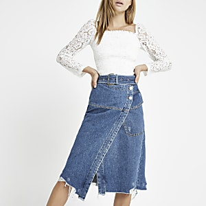 Blue wrap utility denim midi skirt