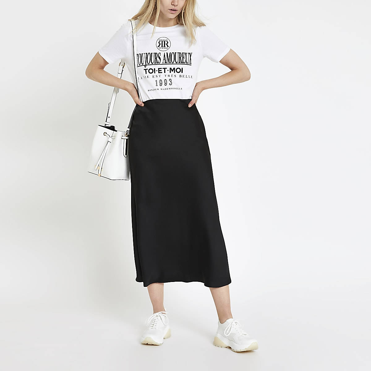 White slogan print T-shirt