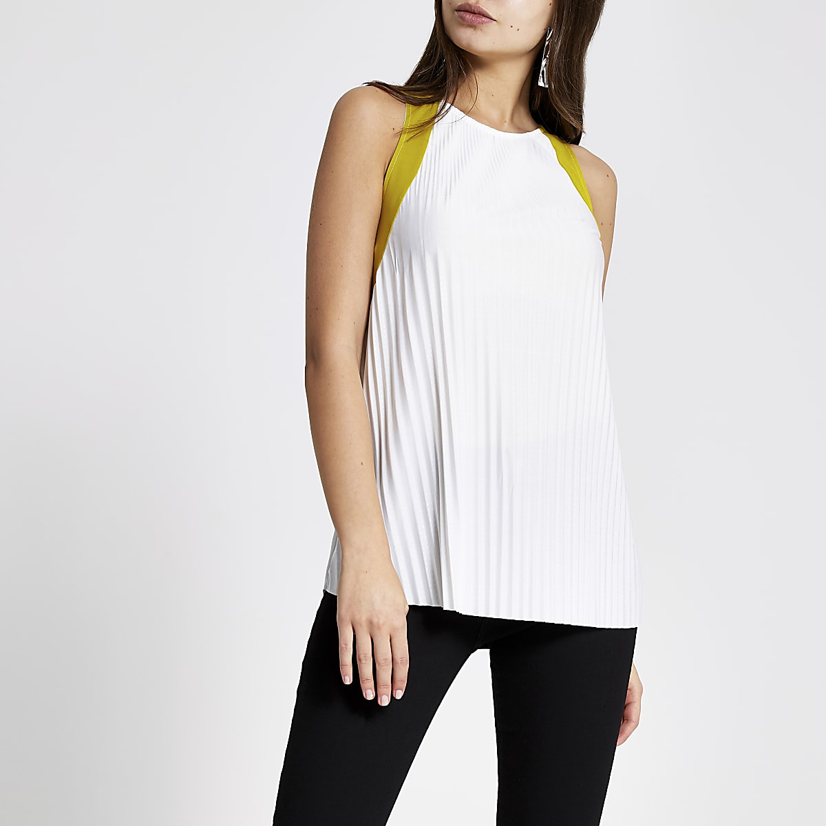 White lime trim pleated top