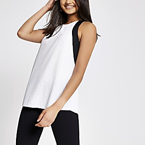 White mono trim pleated top