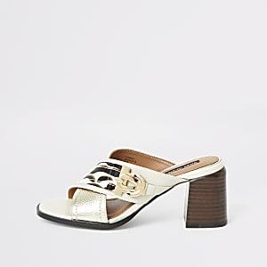 White wide fit cross strap block heel mules