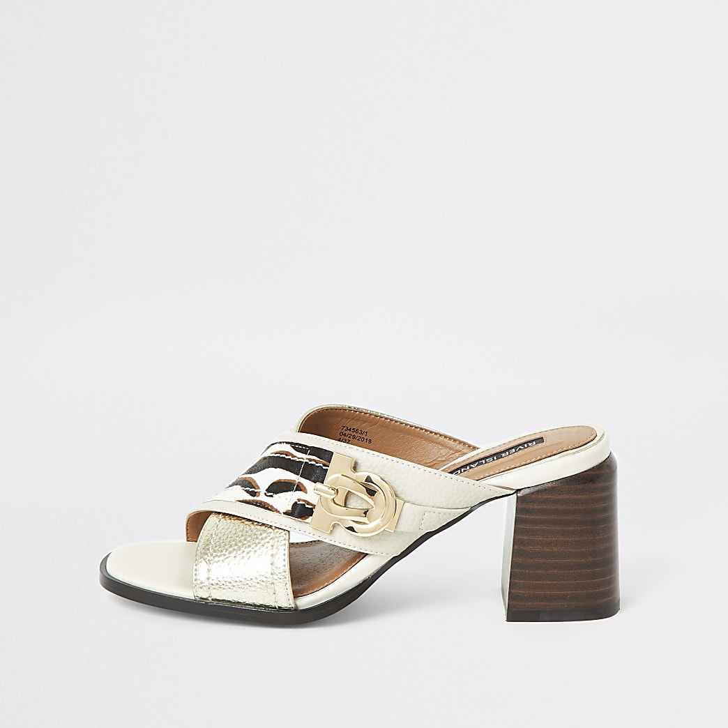 White wide fit cross strap block heel mules