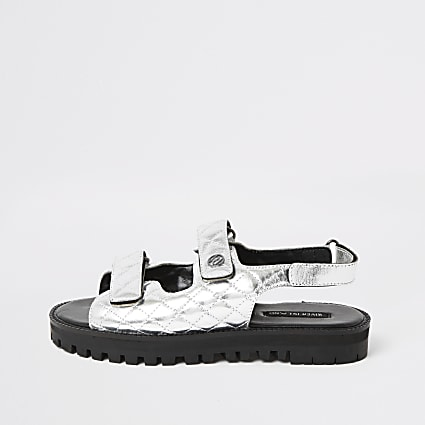 Silver velcro cleated sandals