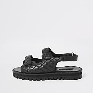 Sandales noires à velcro avec semelle crantée