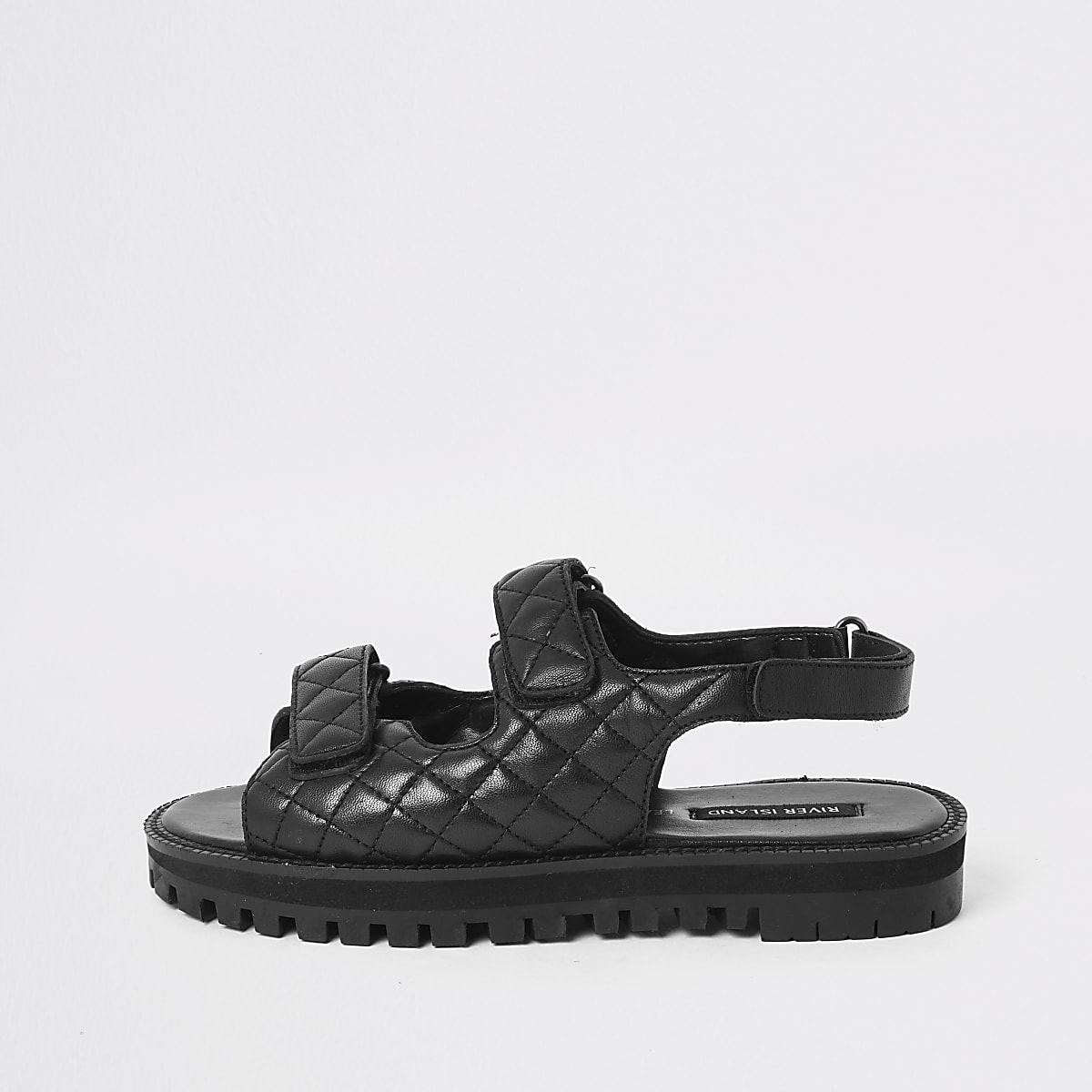 Black velcro cleated sandals