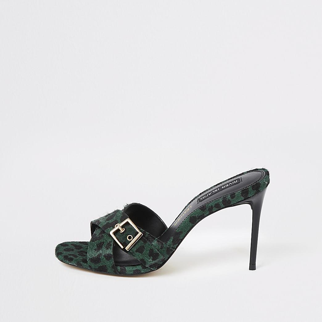 Green leather leopard print heel mules