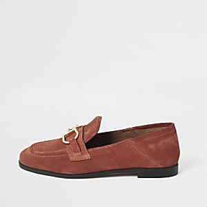 Orange leather snaffle loafers