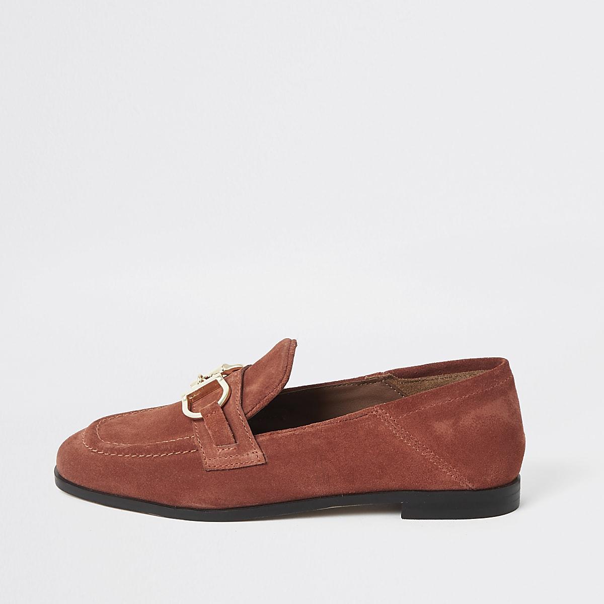 Oranje leren loafers