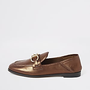 Bronze snaffle loafers