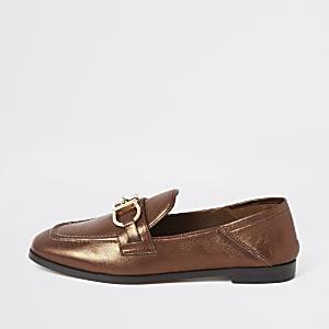 Bronskleurige loafers