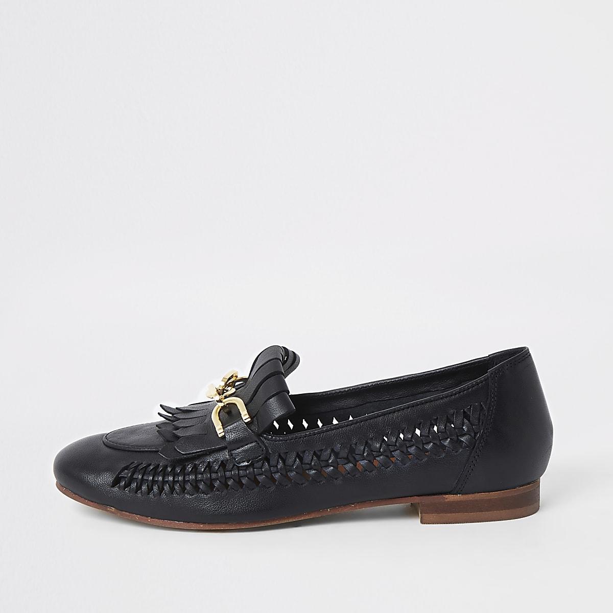 Zwarte gevlochten leren loafers