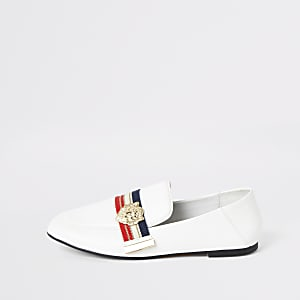 White wide fit stripe tape loafers
