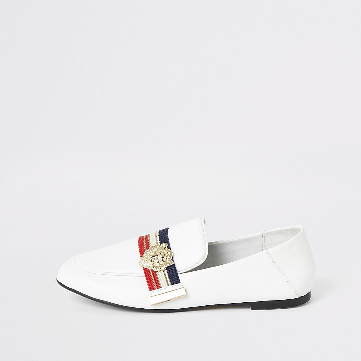 Witte gestreepte loafers met brede pasvorm