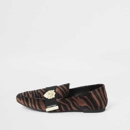 Brown tiger print wide fit tape loafers