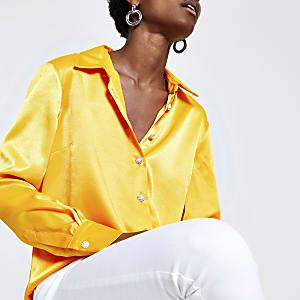 Orange satin long sleeve shirt