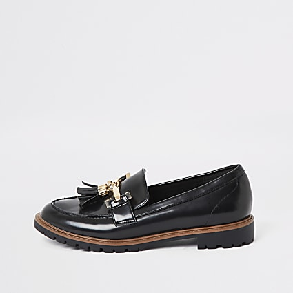 Black wide fit tassel flat loafer