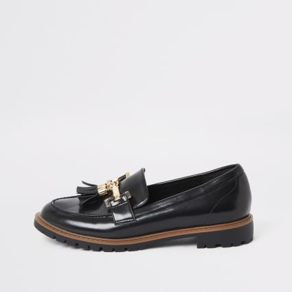 Black wide fit tassel flat loafer