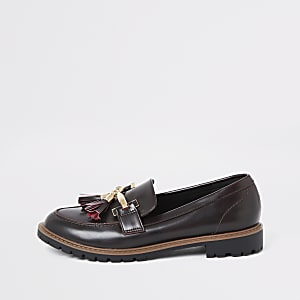Dark red wide fit tassel flat loafer