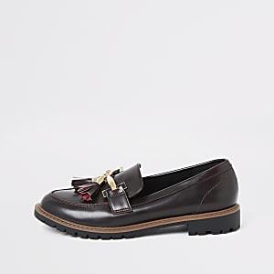Platte wijde donkerrode loafer met kwastje