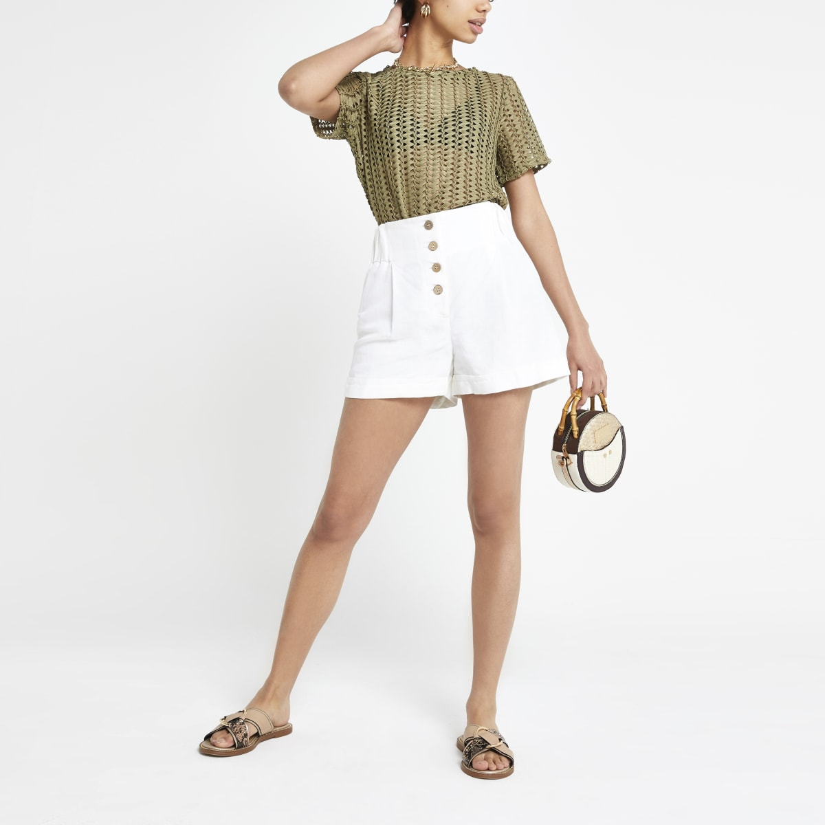 Khaki crochet loose fit T-shirt