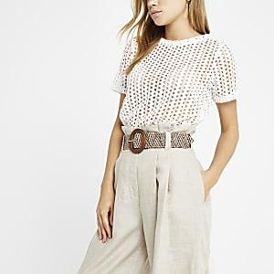 White crochet loose fit T-shirt