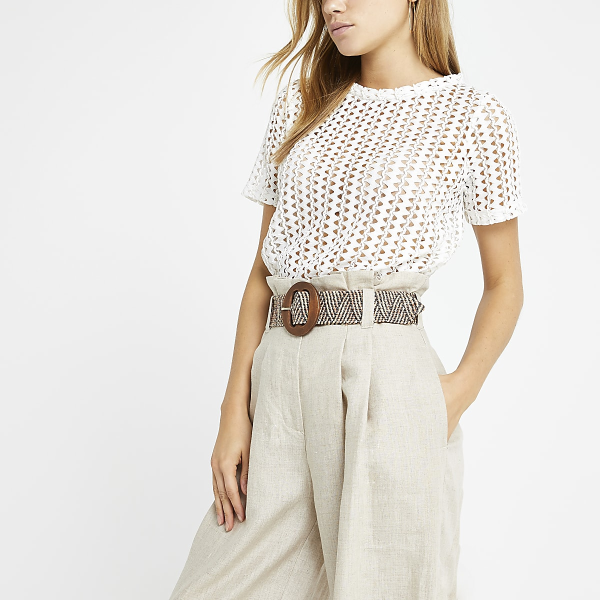 White crochet loose fit T-shirt