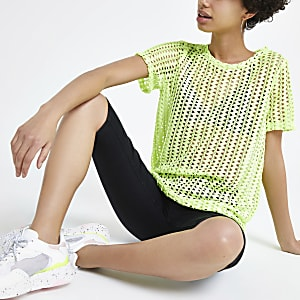Neon green crochet loose fit T-shirt