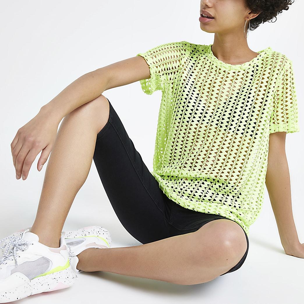 Neongroen gehaakt ruimvallend T-shirt