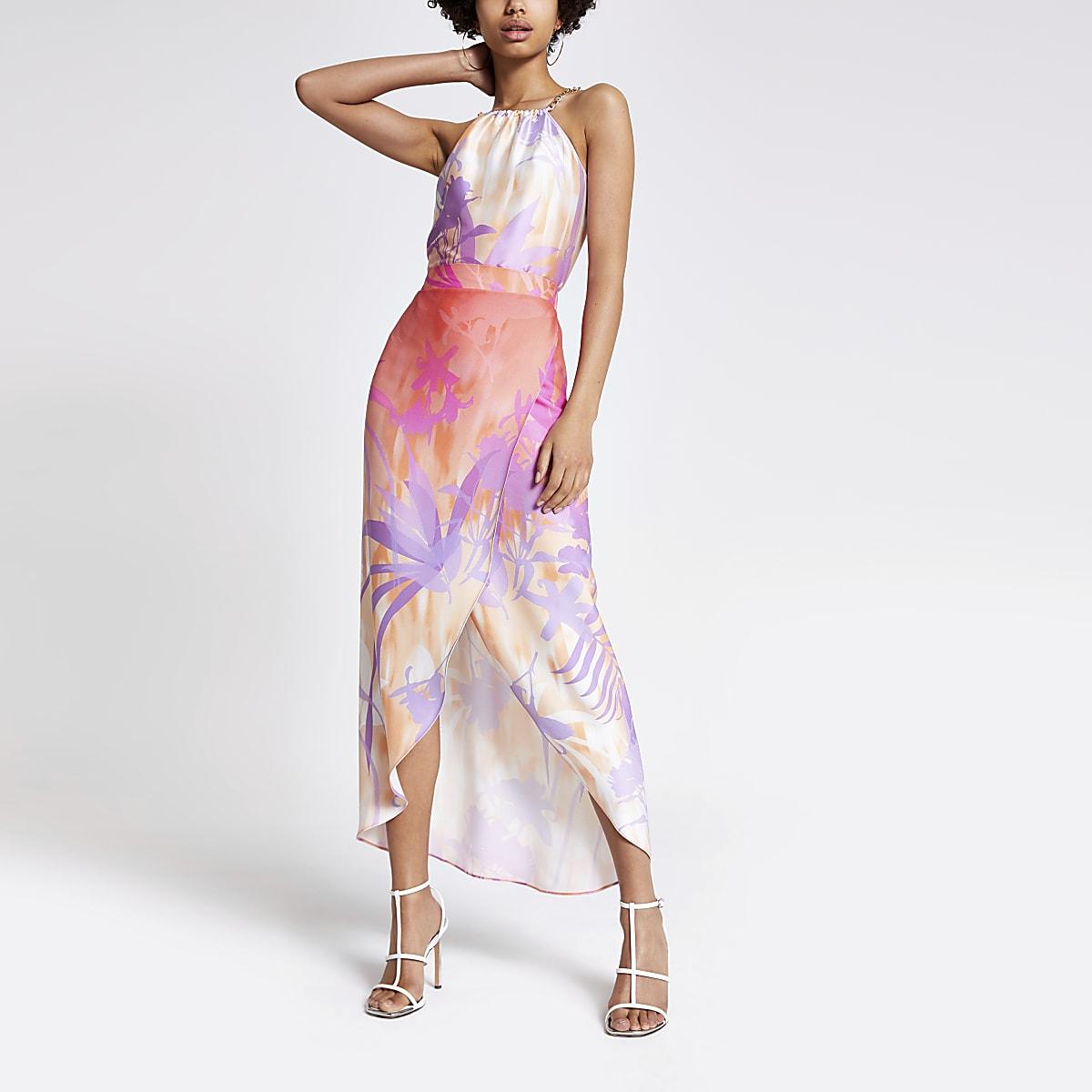 Pink print maxi skirt