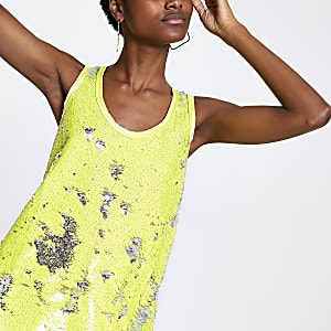 Lime sequin vest