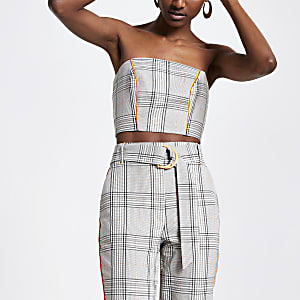 Grey check bandeau crop top