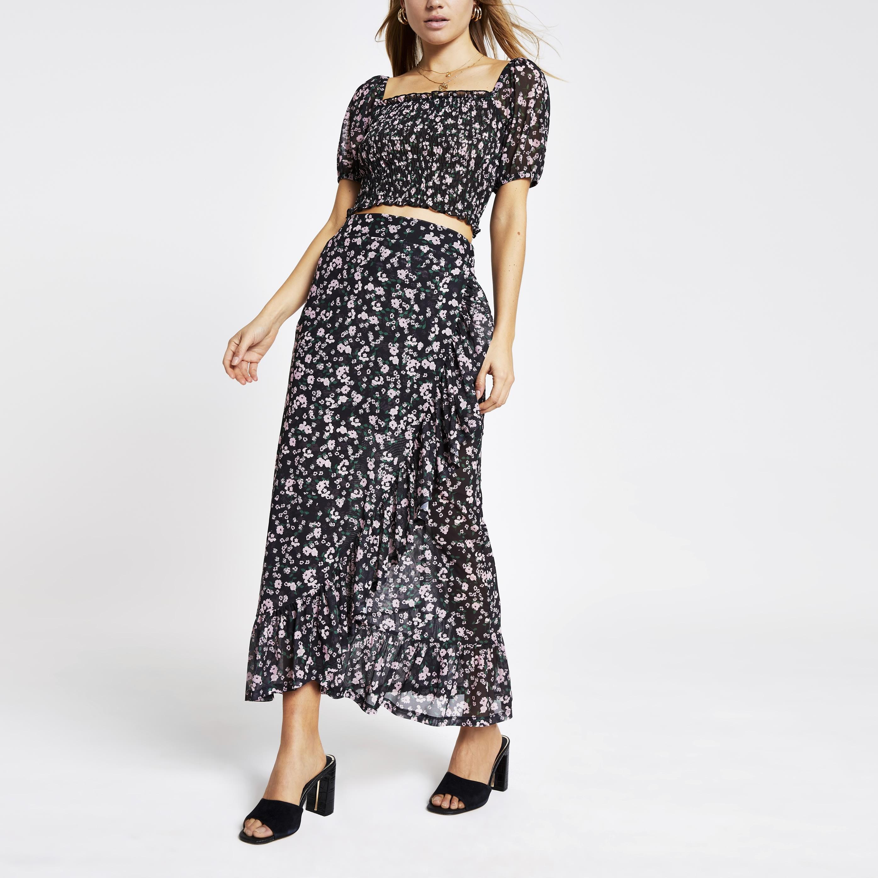 ee75a3b7d249 Miss Selfridge Ditsy Floral Print Wrap Midi Skirt | Saddha
