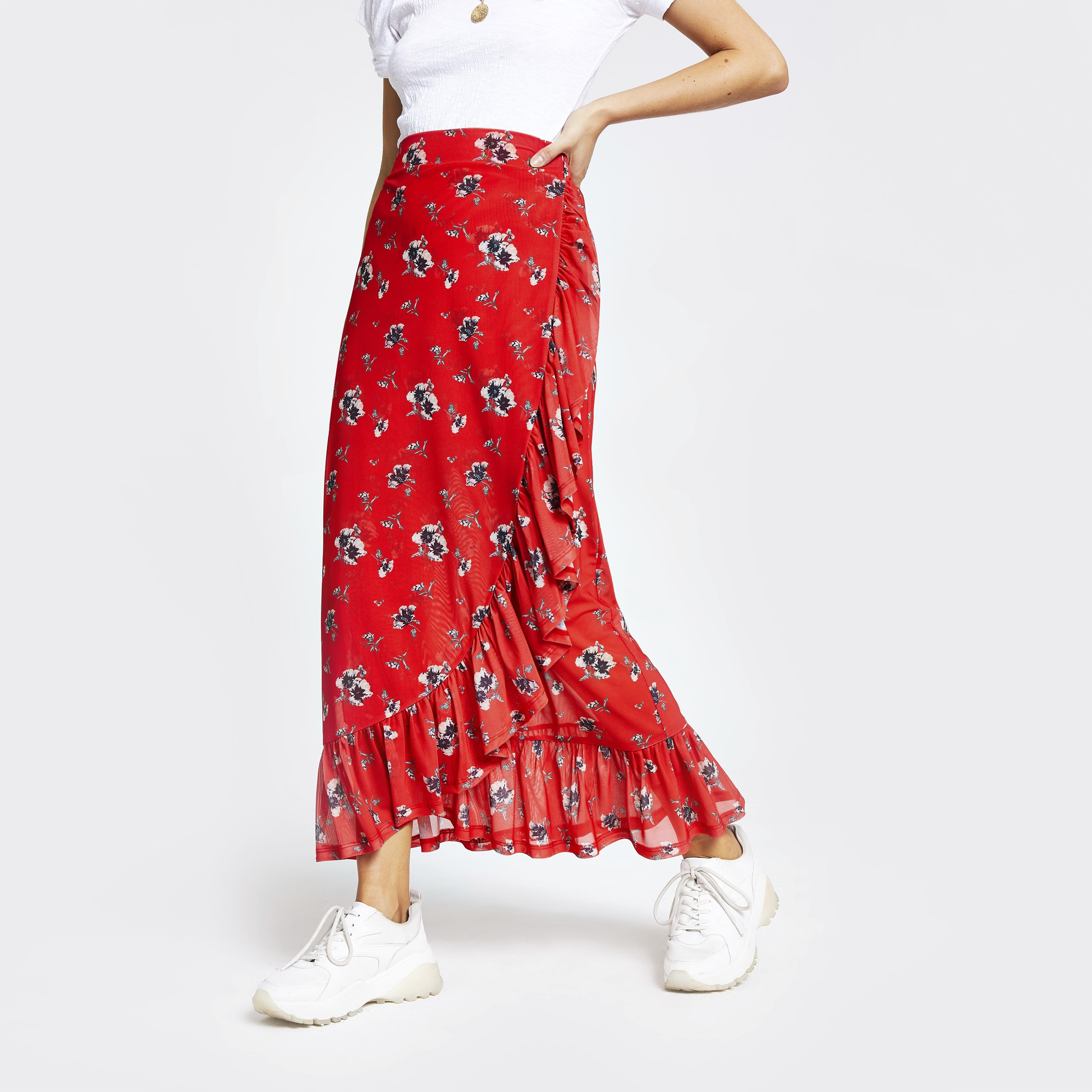 RIVER ISLAND | Womens Red Floral Ruffle Maxi Skirt | Goxip
