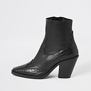 Black croc leather western ankle boots