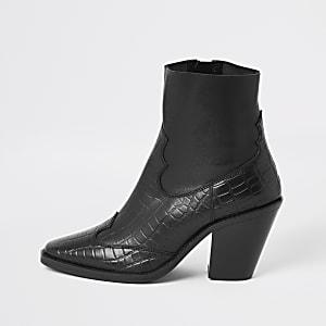 Bottines western en cuir effet croco noires