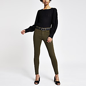 Molly – Jeggings mit mittelhohem Bund in Khaki