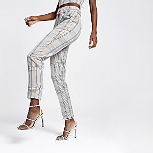 Grey check tailored pants