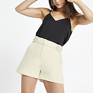 Petite cream belted shorts