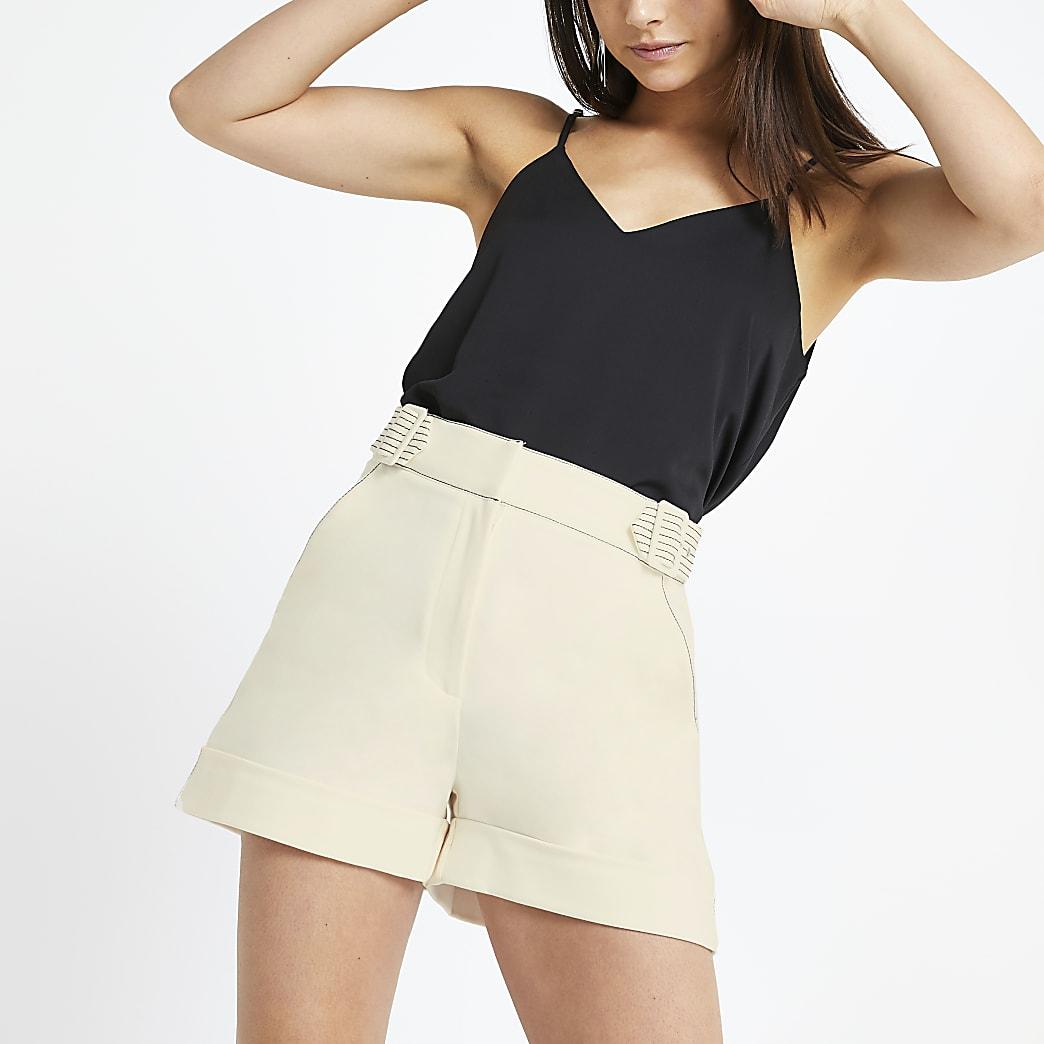 Petite cream belted shorts