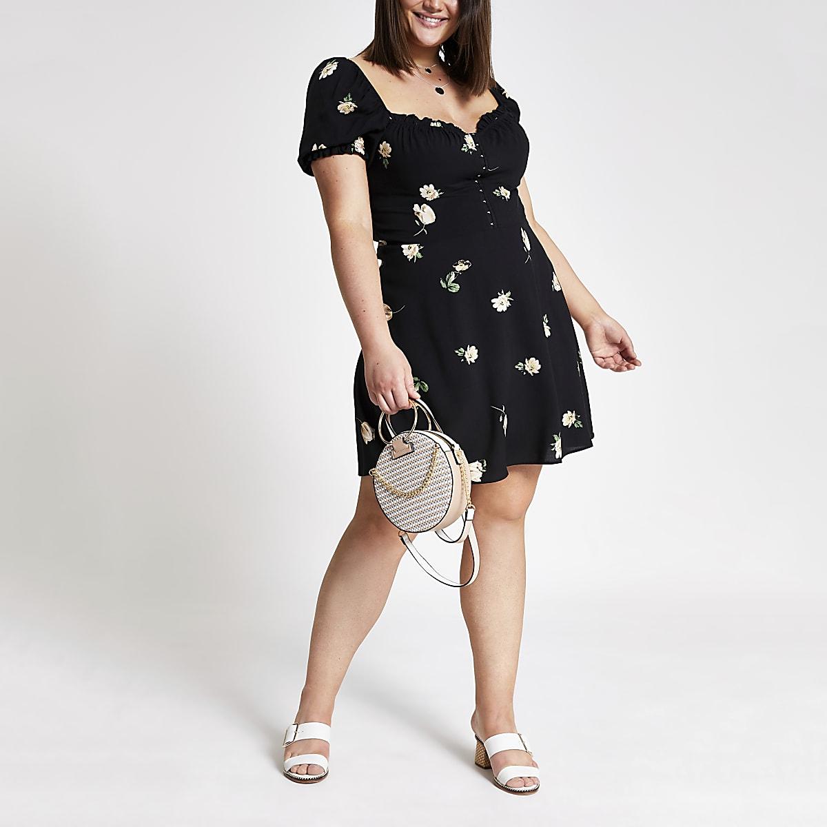 Plus black floral puff sleeve dress