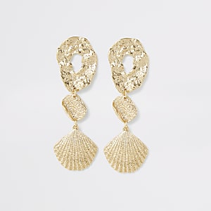 Gold colour shell drop earrings