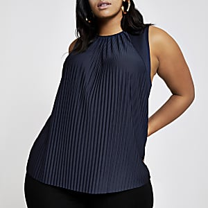 Plus navy pleated tank top