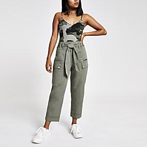 Petite khaki camo bodysuit